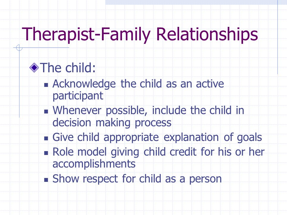 Therapist-Family Relationships The child: Acknowledge the child as an active participant Whenever possible, include the child in decision making process Give child appropriate explanation of goals Role model giving child credit for his or her accomplishments Show respect for child as a person
