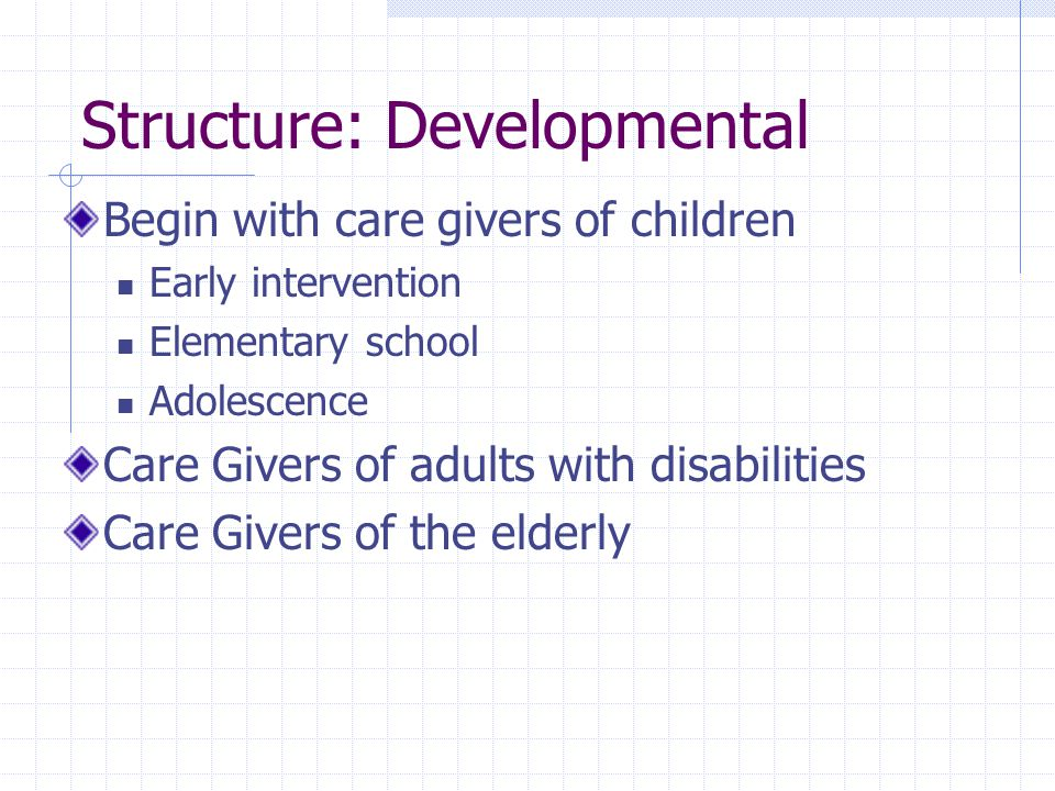 Structure: Developmental Begin with care givers of children Early intervention Elementary school Adolescence Care Givers of adults with disabilities Care Givers of the elderly