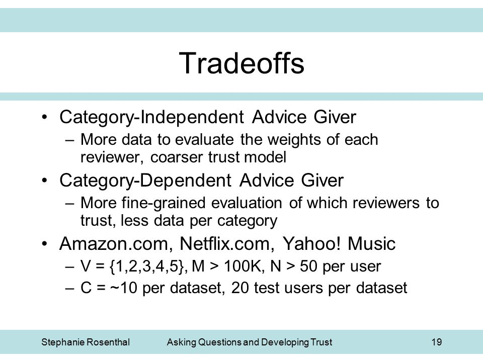 Stephanie RosenthalAsking Questions and Developing Trust19 Tradeoffs Category-Independent Advice Giver –More data to evaluate the weights of each revi