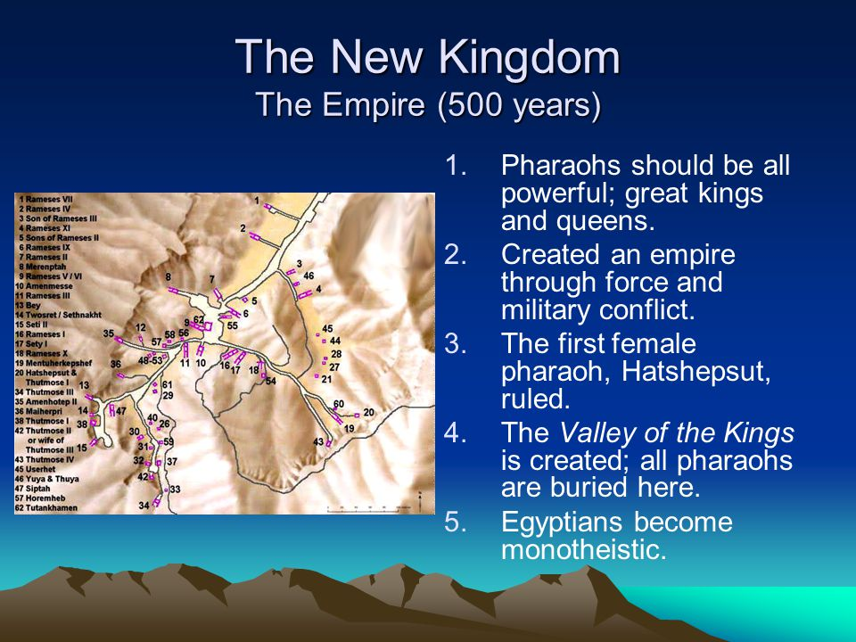 The New Kingdom The Empire (500 years) 1. 1.Pharaohs should be all powerful; great kings and queens. 2. 2.Created an empire through force and military