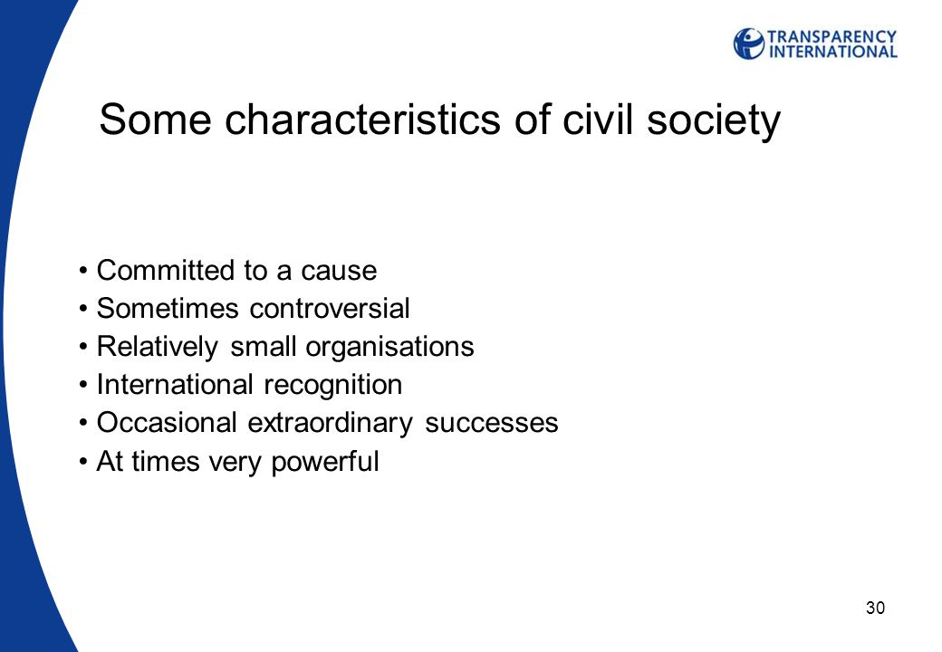 30 Some characteristics of civil society Committed to a cause Sometimes controversial Relatively small organisations International recognition Occasional extraordinary successes At times very powerful