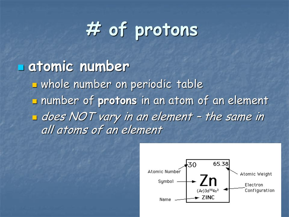 atomic number atomic number whole number on periodic table whole number on periodic table number of protons in an atom of an element number of protons in an atom of an element does NOT vary in an element – the same in all atoms of an element does NOT vary in an element – the same in all atoms of an element # of protons
