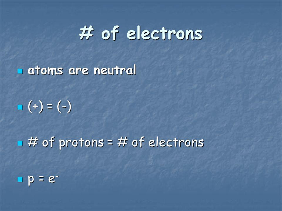 # of electrons atoms are neutral atoms are neutral (+) = (-) (+) = (-) # of protons = # of electrons # of protons = # of electrons p = e - p = e -