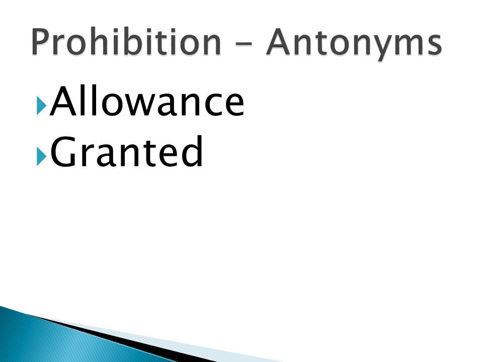  Allowance  Granted