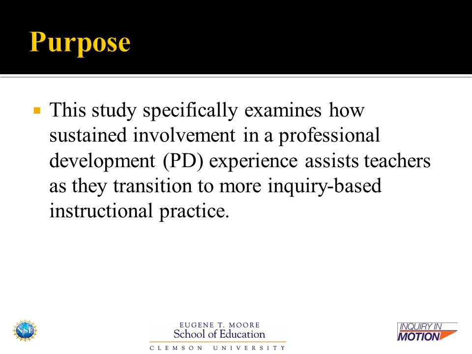  This study specifically examines how sustained involvement in a professional development (PD) experience assists teachers as they transition to more