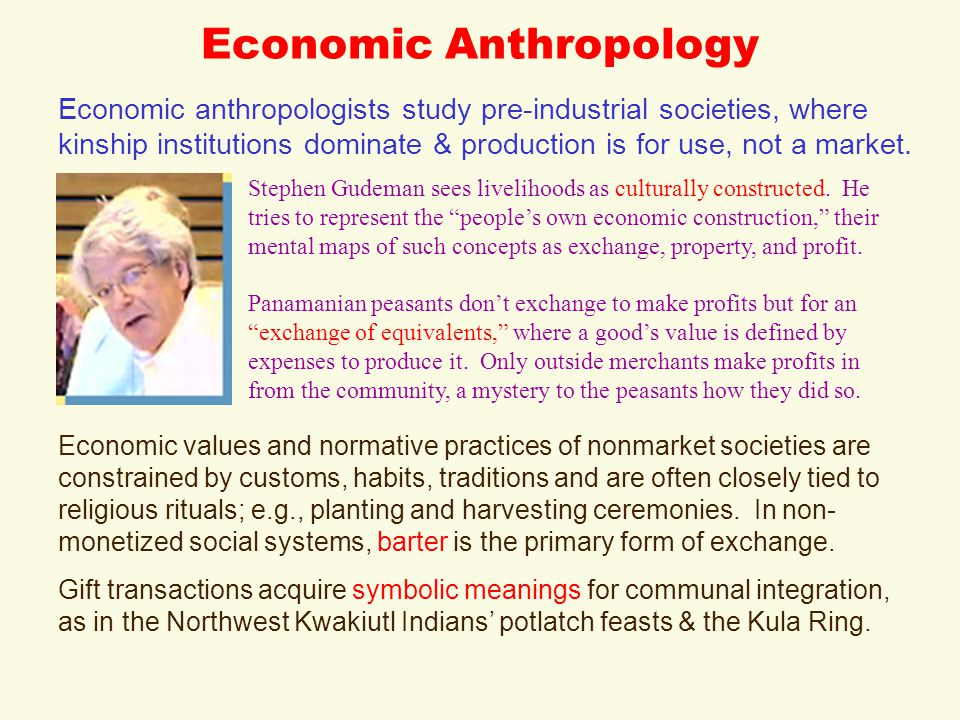 Economic Anthropology Stephen Gudeman sees livelihoods as culturally constructed.