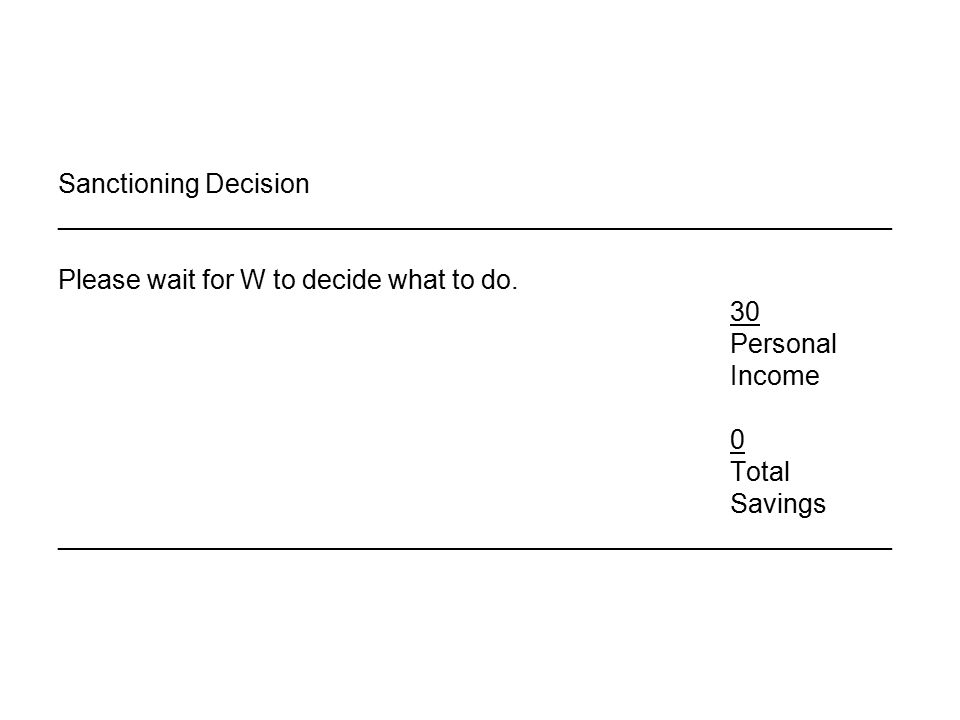 Sanctioning Decision ________________________________________________________ Please wait for W to decide what to do.