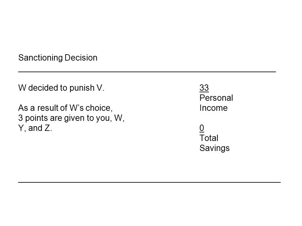 Sanctioning Decision _______________________________________________________ W decided to punish V.33 Personal As a result of W's choice, Income 3 points are given to you, W, Y, and Z.0 Total Savings ________________________________________________________