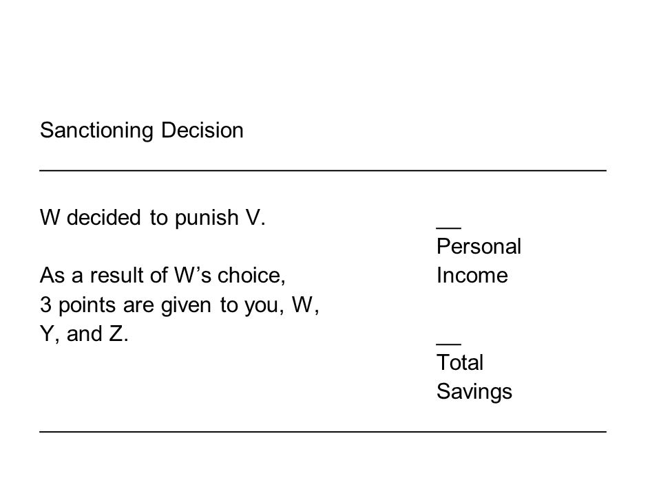 Sanctioning Decision ______________________________________________ W decided to punish V.__ Personal As a result of W's choice, Income 3 points are given to you, W, Y, and Z.__ Total Savings ______________________________________________