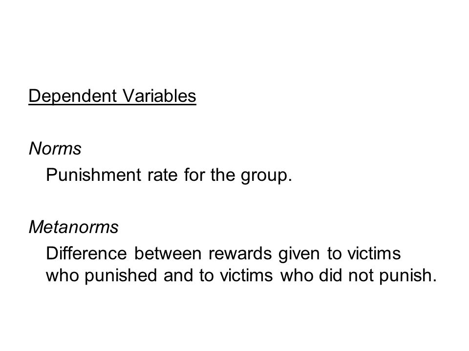 Dependent Variables Norms Punishment rate for the group.