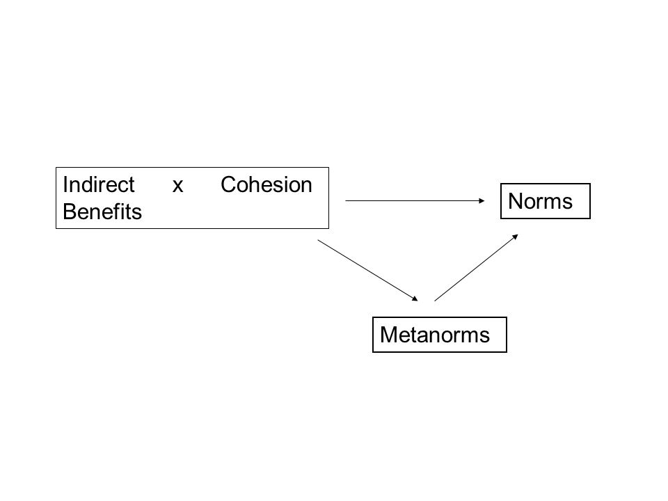 Indirect x Cohesion Benefits Metanorms Norms