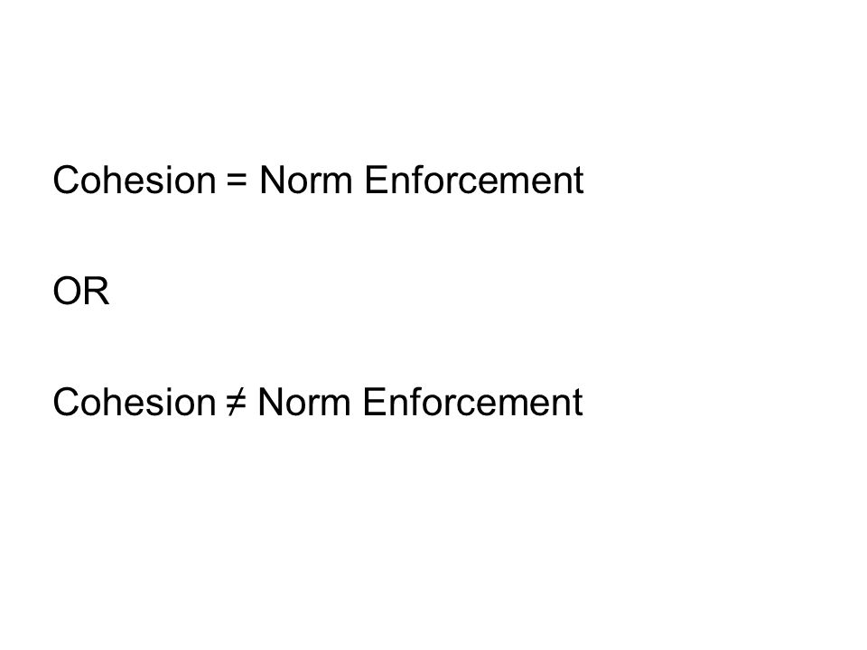 Cohesion = Norm Enforcement OR Cohesion ≠ Norm Enforcement