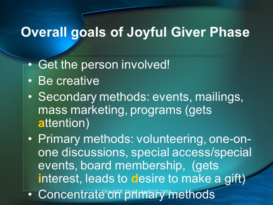 Donald R. Gray--April 27, 2003 Overall goals of Joyful Giver Phase Get the person involved.