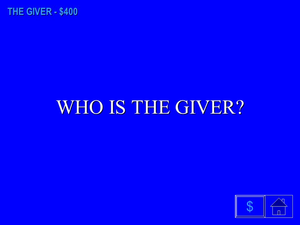 THE GIVER - $100 WHO IS THE RECEIVER OF MEMORY $
