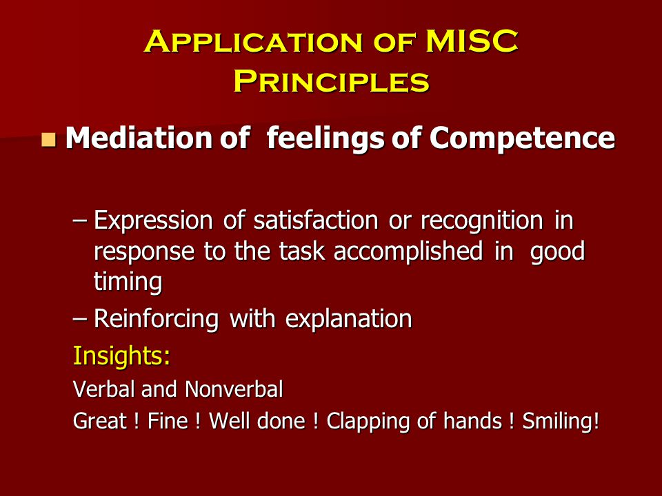 Application of MISC Principles Mediation of feelings of Competence Mediation of feelings of Competence –Expression of satisfaction or recognition in response to the task accomplished in good timing –Reinforcing with explanation Insights: Verbal and Nonverbal Great .