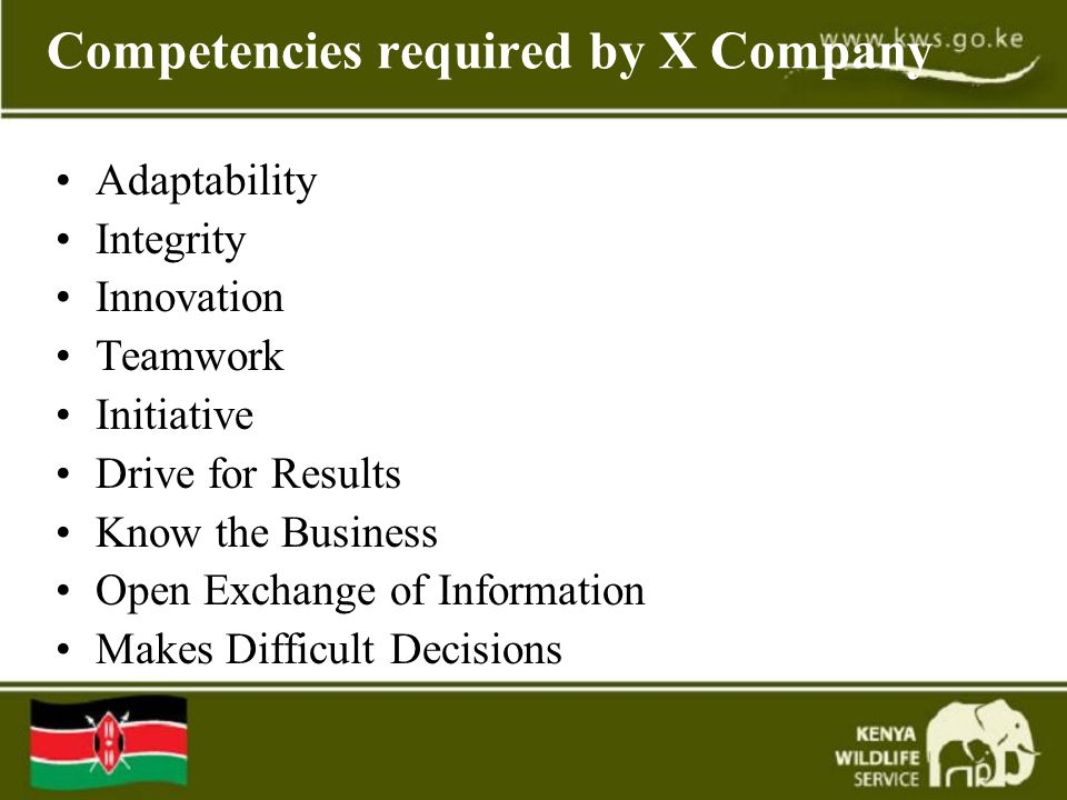 Competencies required by X Company Adaptability Integrity Innovation Teamwork Initiative Drive for Results Know the Business Open Exchange of Information Makes Difficult Decisions