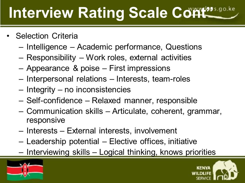 Interview Rating Scale Cont Selection Criteria –Intelligence – Academic performance, Questions –Responsibility – Work roles, external activities –Appearance & poise – First impressions –Interpersonal relations – Interests, team-roles –Integrity – no inconsistencies –Self-confidence – Relaxed manner, responsible –Communication skills – Articulate, coherent, grammar, responsive –Interests – External interests, involvement –Leadership potential – Elective offices, initiative –Interviewing skills – Logical thinking, knows priorities
