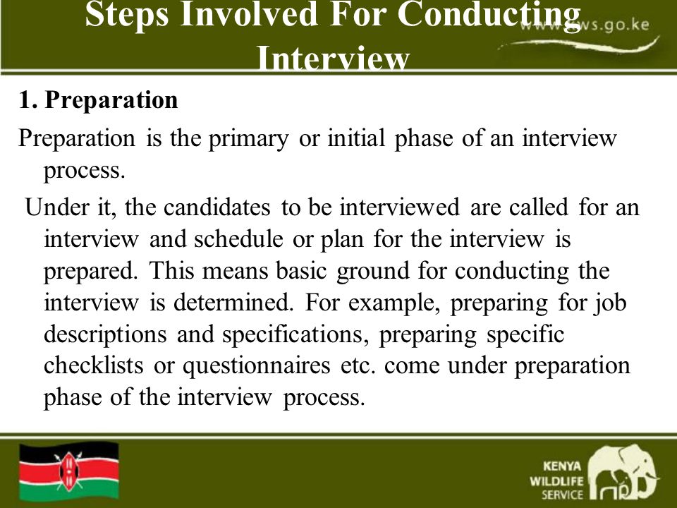Steps Involved For Conducting Interview 1.