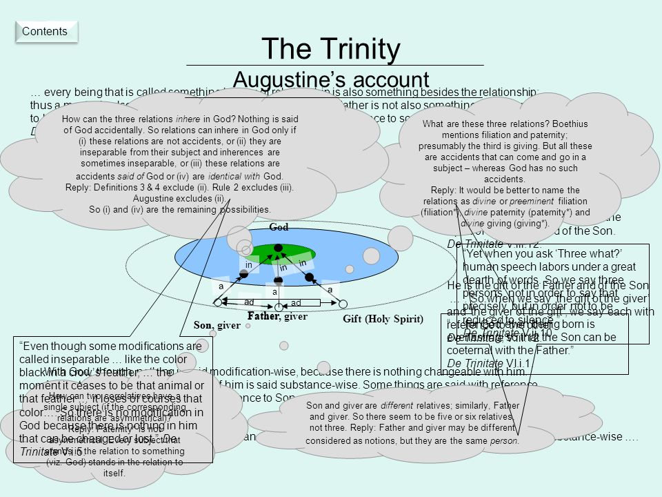 The Trinity Augustine's account a Father Son God Gift (Holy Spirit) in a With God, though, nothing is said modification-wise, because there is nothing