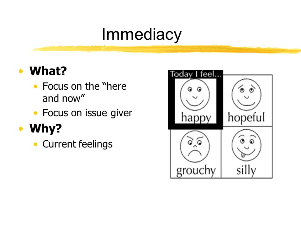 "Immediacy What? Focus on the ""here and now"" Focus on issue giver Why? Current feelings"