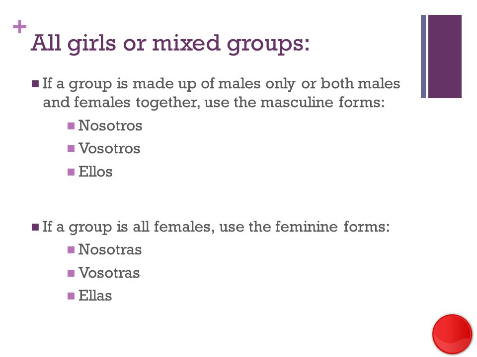 + All girls or mixed groups: If a group is made up of males only or both males and females together, use the masculine forms: Nosotros Vosotros Ellos