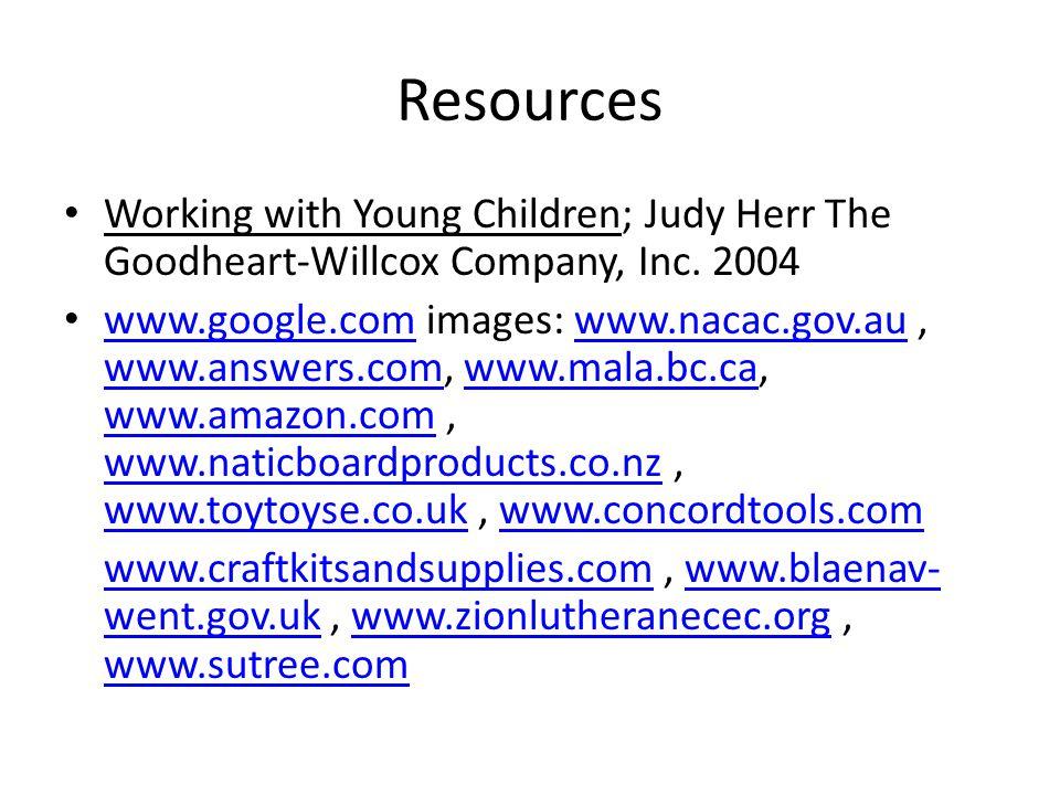 Resources Working with Young Children; Judy Herr The Goodheart-Willcox Company, Inc. 2004 www.google.com images: www.nacac.gov.au, www.answers.com, ww