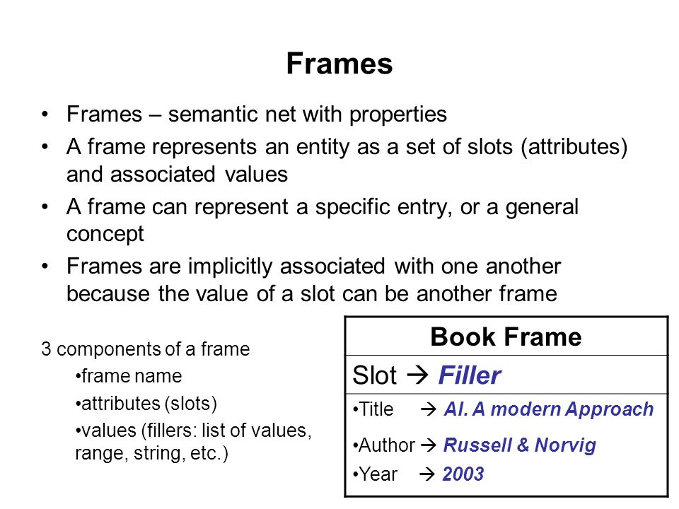Frames Frames – semantic net with properties A frame represents an entity as a set of slots (attributes) and associated values A frame can represent a specific entry, or a general concept Frames are implicitly associated with one another because the value of a slot can be another frame Book Frame Slot  Filler Title  AI.