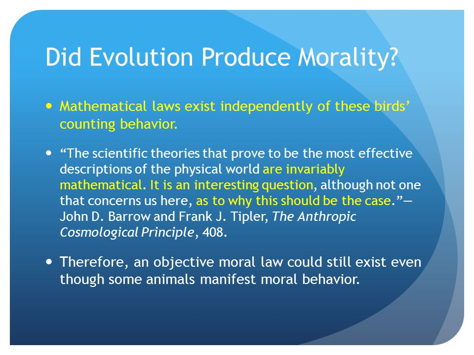 Did Evolution Produce Morality.