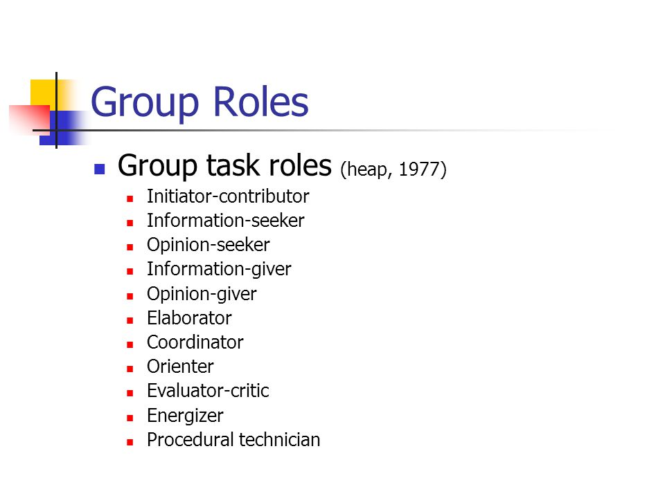 Group Roles Group task roles (heap, 1977) Initiator-contributor Information-seeker Opinion-seeker Information-giver Opinion-giver Elaborator Coordinator Orienter Evaluator-critic Energizer Procedural technician