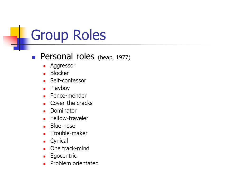 Group Roles Personal roles (heap, 1977) Aggressor Blocker Self-confessor Playboy Fence-mender Cover-the cracks Dominator Fellow-traveler Blue-nose Trouble-maker Cynical One track-mind Egocentric Problem orientated