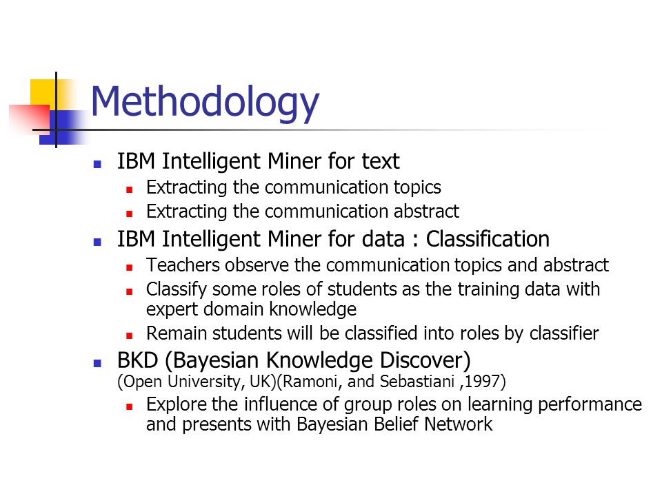 Methodology IBM Intelligent Miner for text Extracting the communication topics Extracting the communication abstract IBM Intelligent Miner for data : Classification Teachers observe the communication topics and abstract Classify some roles of students as the training data with expert domain knowledge Remain students will be classified into roles by classifier BKD (Bayesian Knowledge Discover) (Open University, UK)(Ramoni, and Sebastiani,1997) Explore the influence of group roles on learning performance and presents with Bayesian Belief Network