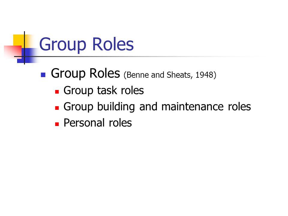 Group Roles Group task roles (heap, 1977) Initiator-contributor Information-seeker Opinion-seeker Information-giver Opinion-giver Elaborator Coordinator Orienter Evaluator-critic Energizer Procedural technician