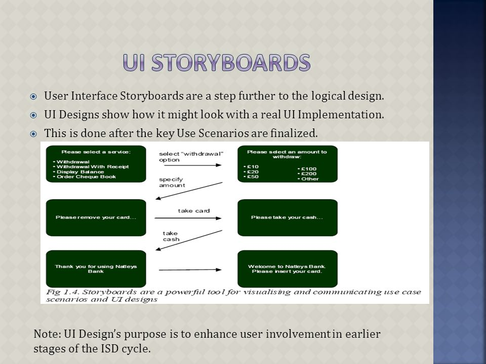 User Interface Storyboards are a step further to the logical design.