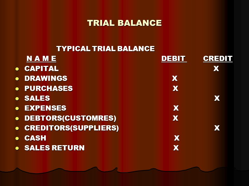 TRIAL BALANCE TYPICAL TRIAL BALANCE TYPICAL TRIAL BALANCE N A M E DEBIT CREDIT N A M E DEBIT CREDIT CAPITAL X CAPITAL X DRAWINGS X DRAWINGS X PURCHASES X PURCHASES X SALES X SALES X EXPENSES X EXPENSES X DEBTORS(CUSTOMRES) X DEBTORS(CUSTOMRES) X CREDITORS(SUPPLIERS) X CREDITORS(SUPPLIERS) X CASH X CASH X SALES RETURN X SALES RETURN X