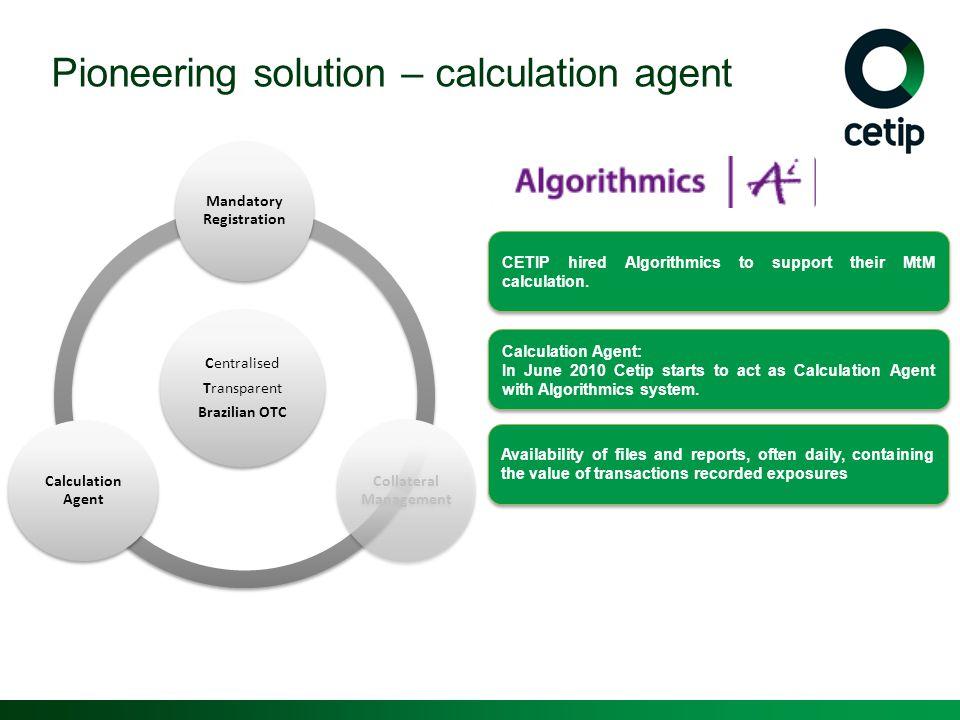 Pioneering solution – calculation agent Centralised Transparent Brazilian OTC Mandatory Registration Collateral Management Calculation Agent CETIP hir