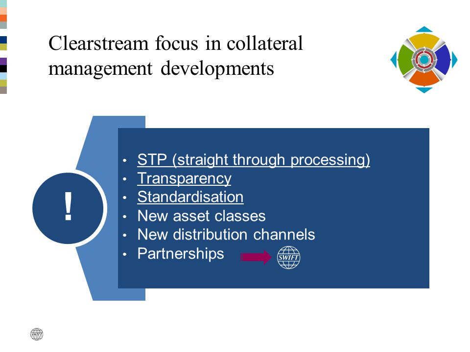 Clearstream focus in collateral management developments STP (straight through processing) Transparency Standardisation New asset classes New distribut