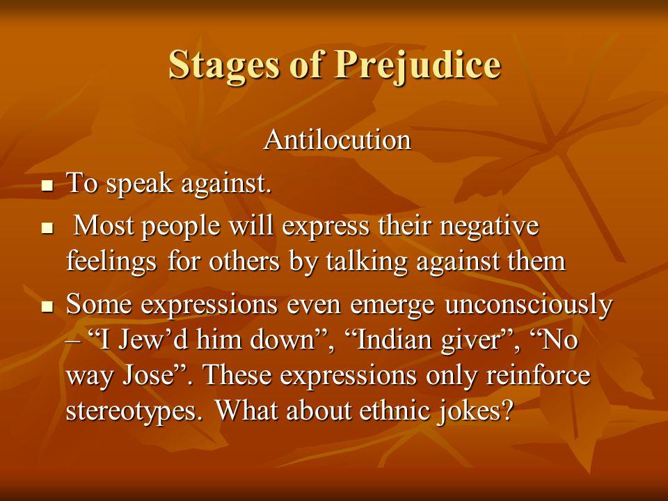 Stages of Prejudice Antilocution Antilocution To speak against.