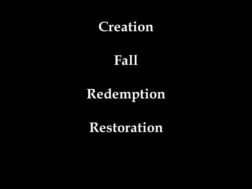 Creation Fall Redemption Restoration