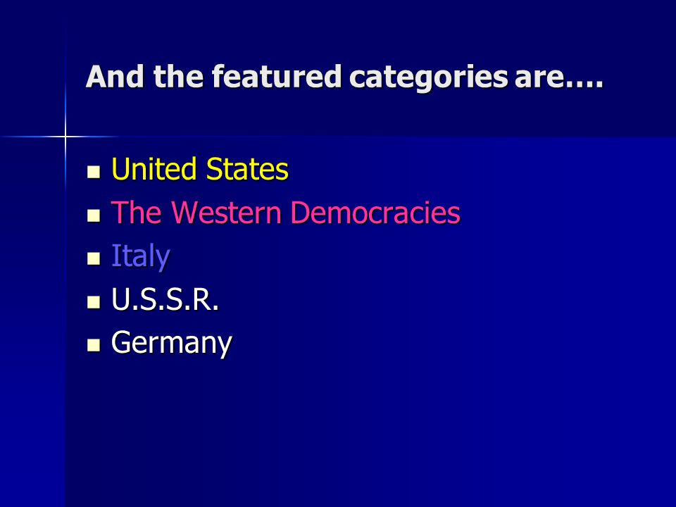 And the featured categories are….