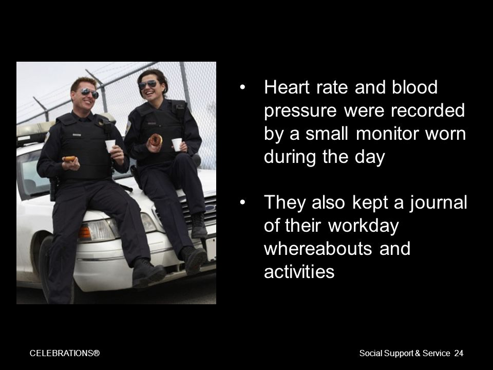 CELEBRATIONS®Social Support & Service 24 Heart rate and blood pressure were recorded by a small monitor worn during the day They also kept a journal of their workday whereabouts and activities