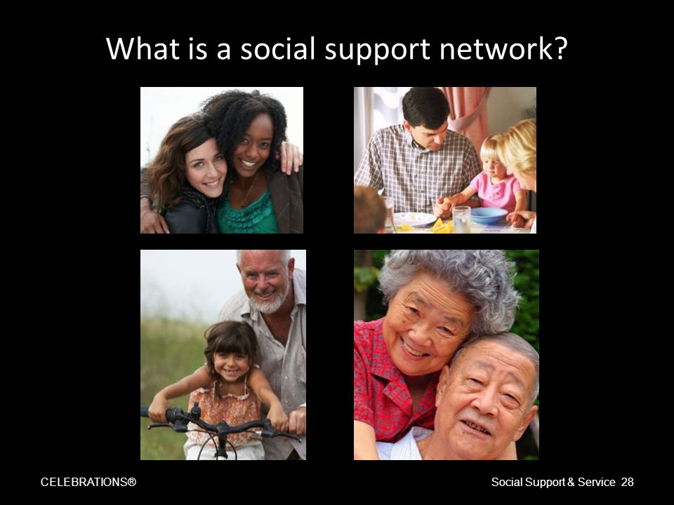 What is a social support network CELEBRATIONS®Social Support & Service 28