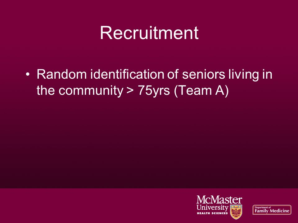 Recruitment Random identification of seniors living in the community > 75yrs (Team A)‏