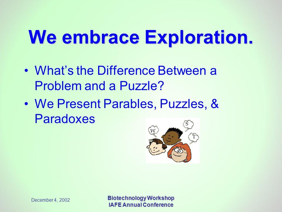 December 4, 2002 Biotechnology Workshop IAFE Annual Conference We embrace Exploration.