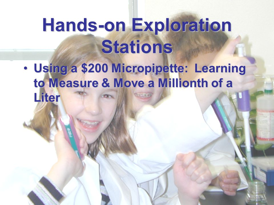 December 4, 2002 Biotechnology Workshop IAFE Annual Conference Hands-on Exploration Stations Using a $200 Micropipette: Learning to Measure & Move a M