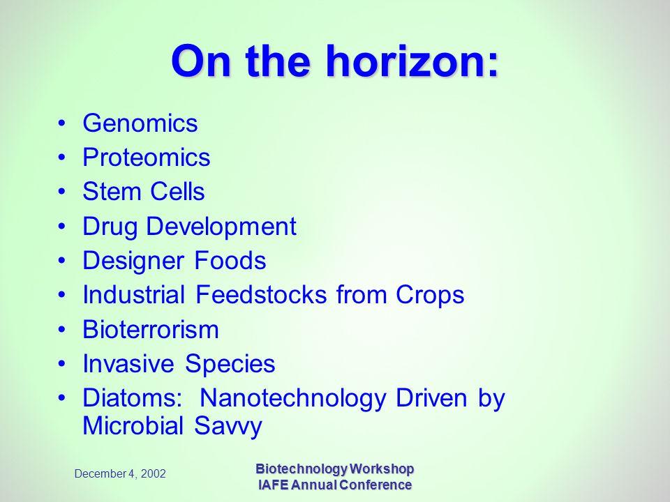 December 4, 2002 Biotechnology Workshop IAFE Annual Conference On the horizon: Genomics Proteomics Stem Cells Drug Development Designer Foods Industri