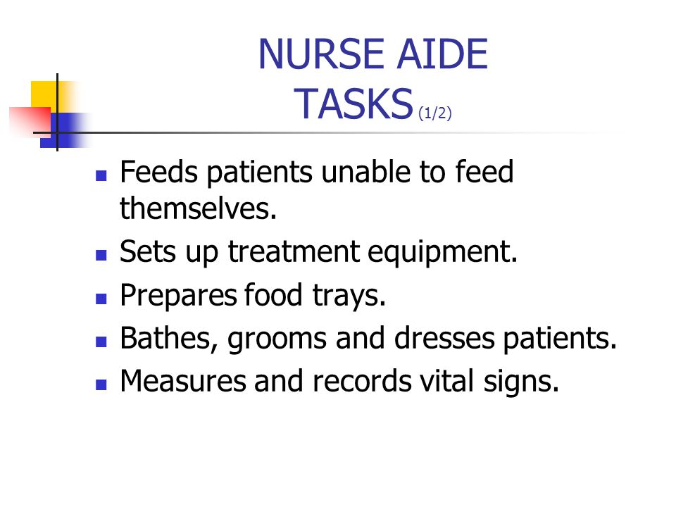 NURSE AIDE TASKS (1/2) Feeds patients unable to feed themselves.