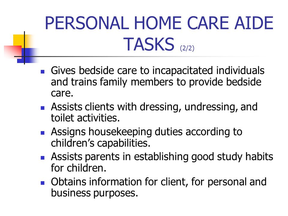 ENVIRONMENTAL AIDE TASKS (1/2) Transports residents to various areas, dining room, physical therapy, activities and beauty shop.