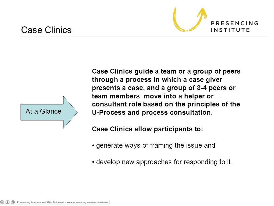 Case Clinics guide a team or a group of peers through a process in which a case giver presents a case, and a group of 3-4 peers or team members move into a helper or consultant role based on the principles of the U-Process and process consultation.