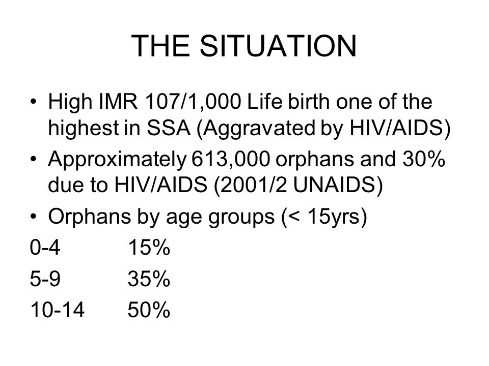 THE SITUATION High IMR 107/1,000 Life birth one of the highest in SSA (Aggravated by HIV/AIDS) Approximately 613,000 orphans and 30% due to HIV/AIDS (2001/2 UNAIDS) Orphans by age groups (< 15yrs) 0-415% 5-935% %