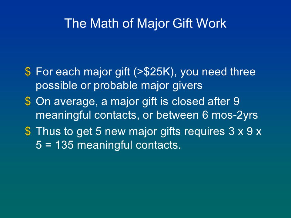 The Math of Major Gift Work $For each major gift (>$25K), you need three possible or probable major givers $On average, a major gift is closed after 9 meaningful contacts, or between 6 mos-2yrs $Thus to get 5 new major gifts requires 3 x 9 x 5 = 135 meaningful contacts.